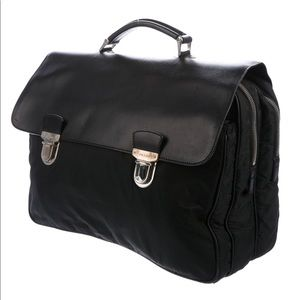 Authentic PRADA briefcase with nylon and leather
